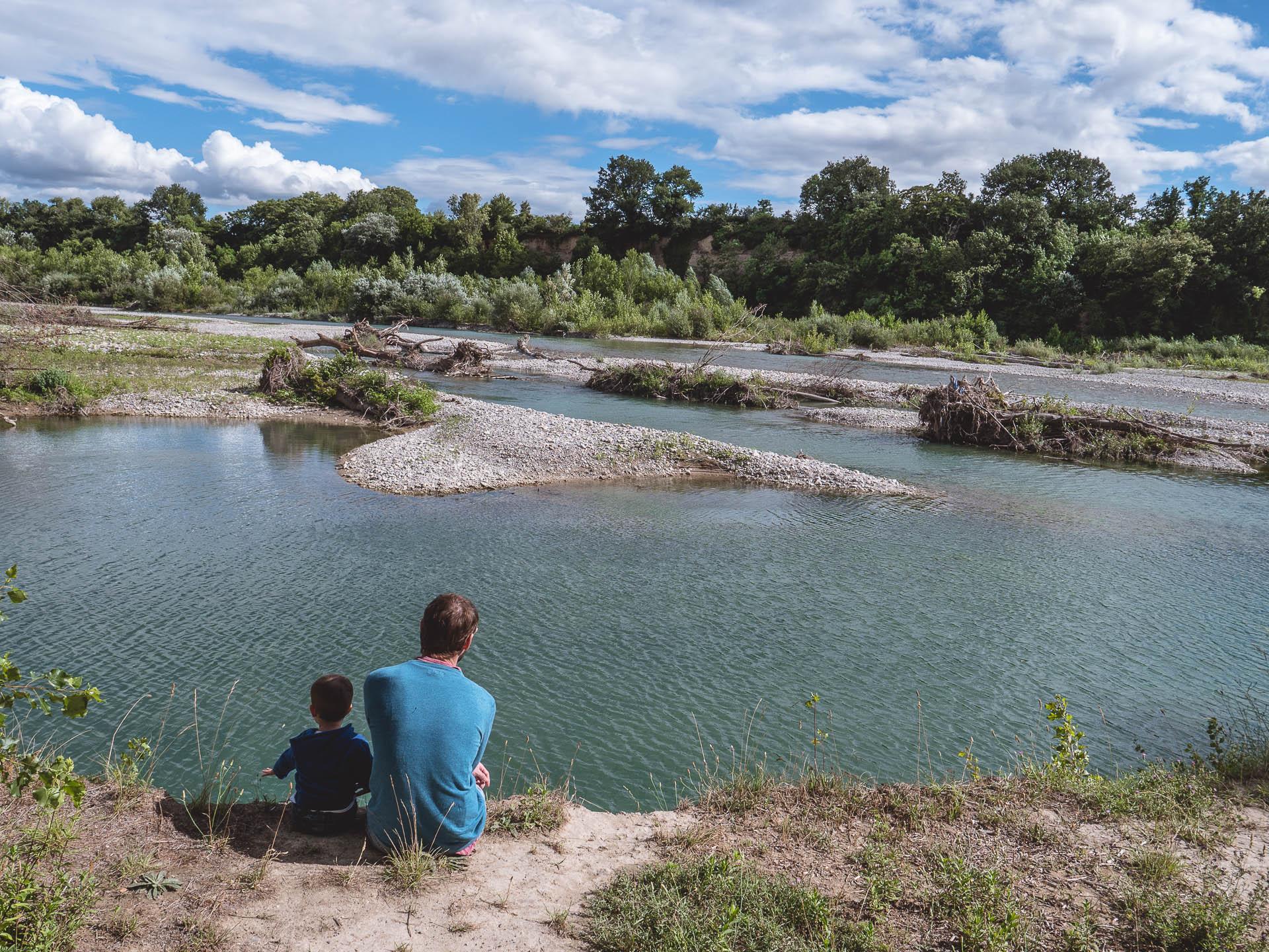 rives de la Drôme dans la réserve naturelle des ramières