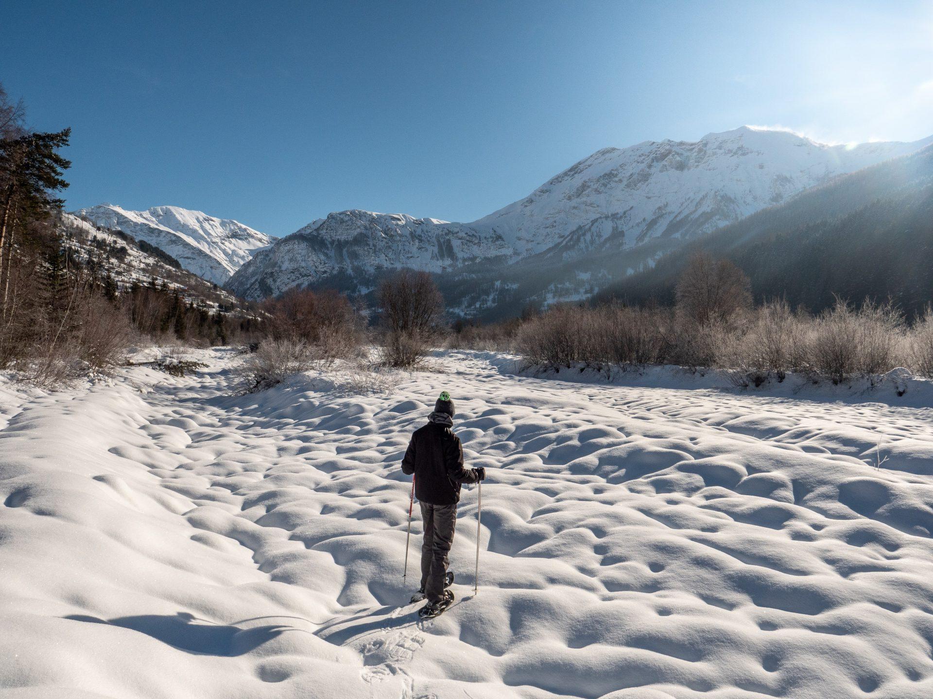 Randonnée en raquettes à orcières, dans la vallée de Champsaur valgaudemar - drac noir
