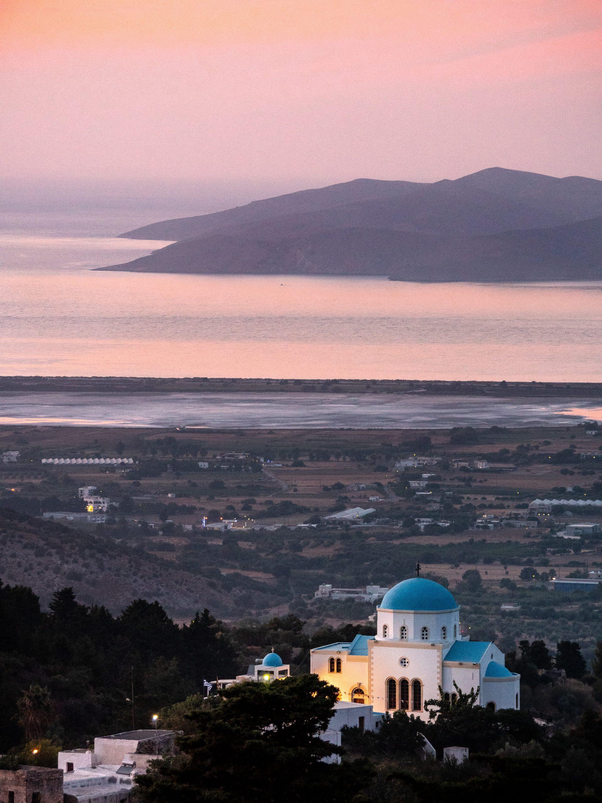 coucher de soleil à zia sur l'île de Kos
