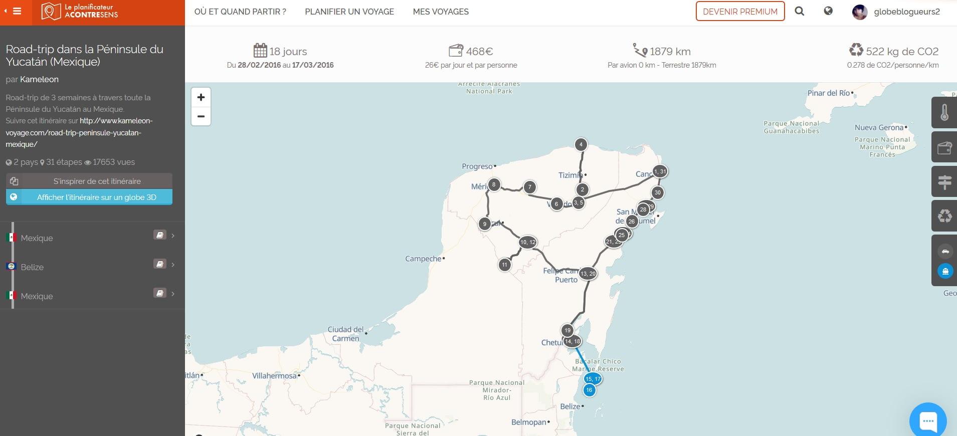 planificateur itinéraire de voyage